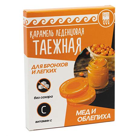 Карамель леденцовая «Таежная» для бронхов и легких, мед и облепиха